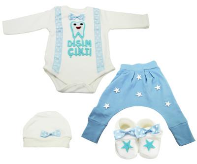 Petite Ponpon Baby - Dişim Çıktı Yazılı Bebe Zıbın Seti 4 Parça Mavi