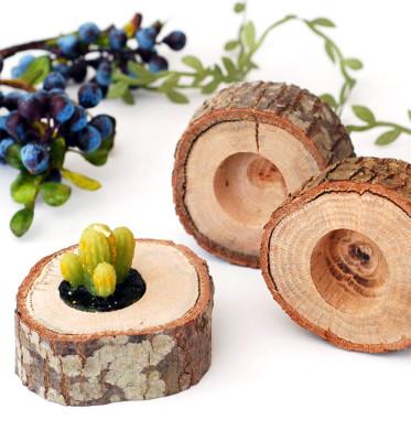 Doğal Ağaç Dilimi Mumluk - Thumbnail