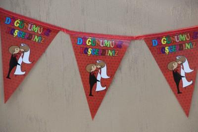 Diğer - Düğünümüze Hoşgeldiniz Üçgen Flama Duvar Süsleme Kağıdı