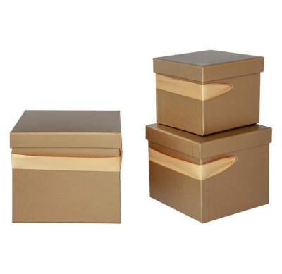 Diğer - Düz Renk Kare Hediye Kutusu Gold 3lü Set