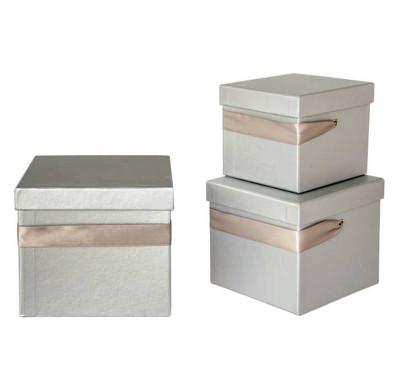 Diğer - Düz Renk Kare Hediye Kutusu Gümüş 3lü Set
