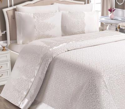 Diğer - Elegance Fransız Dantel Pike Yatak Örtüsü Takımı Krem