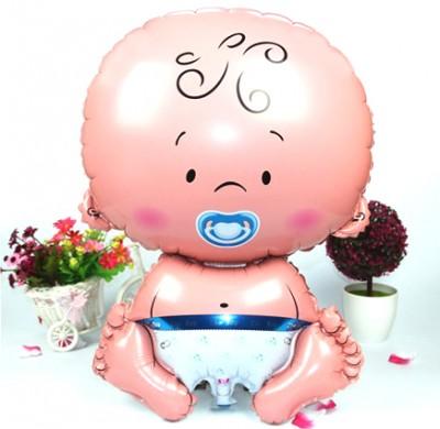 Diğer - Erkek Bebek Figürlü Kendin Şişir Uçan Folyo Balon Mavi