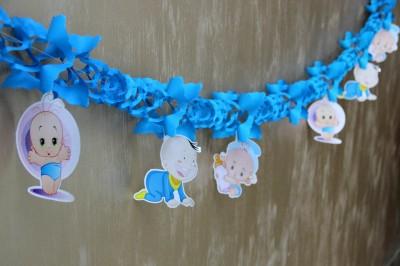 Diğer - Erkek Bebek Hoşgeldin Partisi Akordiyon Süsleme Kağıdı Mavi