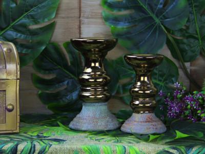 Diğer - Eskitme Desenli Altın Renkli Seramik Şamdan 18cm