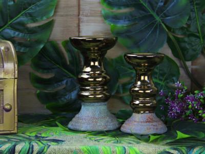 Diğer - Eskitme Desenli Altın Renkli Seramik Şamdan 23cm