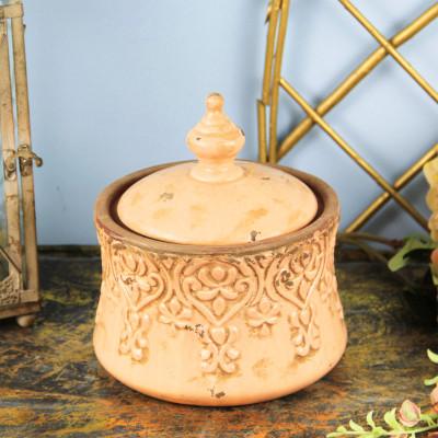 Diğer - Eskitme Desenli Kapaklı Seramik Küp Dekoratif Obje 32cm
