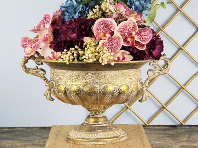 Diğer - Eskitme Tasarımlı Kulplu Metal Gondol Çiçeklik 47cm