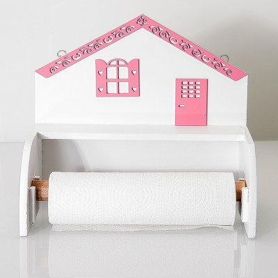 Ev Şeklinde Ahşap Kağıt Havluluk 27cm Pembe - Thumbnail