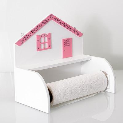 Diğer - Ev Şeklinde Ahşap Kağıt Havluluk 27cm Pembe