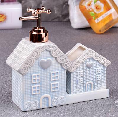 Diğer - Ev Şeklinde Porselen Sıvı Sabunluk ve Süngerlik Mavi