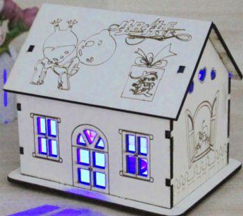 Ev Tasarımlı Işıklı Ahşap Kumbara