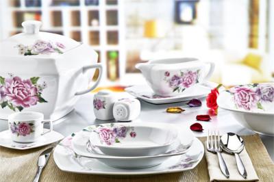 Evimsaray - Evimsaray Çiçek Desenli 12 Kişilik 86 Parça Kare Porselen Yemek Takımı
