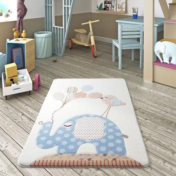 Fil ve Balon Tasarımlı Çocuk ve Bebek Odası Halısı Mavi 100x150cm