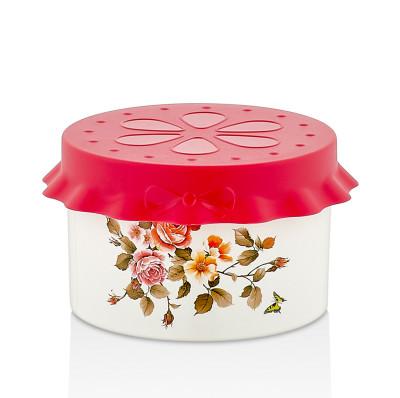Diğer - Fırfır Kapaklı Çiçek Desenli Saklama Kabı 10cm