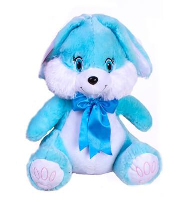 Diğer - Fiyonklu Tavşan Peluş Oyuncak 45cm Mavi