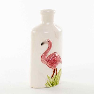 Diğer - Flamingo Figürlü Dar Ağızlı Seramik Vazo 23cm