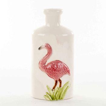 Flamingo Figürlü Dar Ağızlı Seramik Vazo 23cm