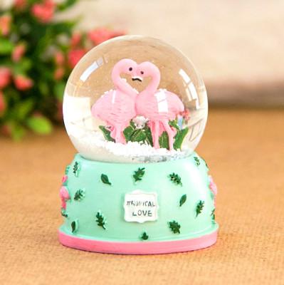 Diğer - Flamingo Figürlü Mini Kar Küresi Yeşil