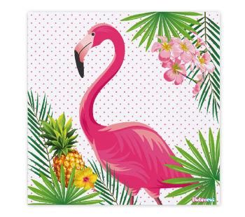 Flamingo Temalı Çift Katlı 16lı Parti Peçetesi