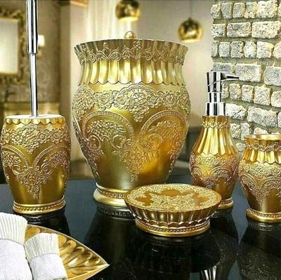 Diğer - Flora Nakışlı Lüks Banyo Seti 5 Parça Gold