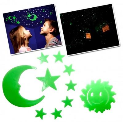 Diğer - Fosforlu Ay Güneş ve Yıldızlar Duvar Süsü 11 Parça