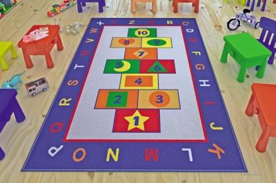 Confetti - Game Seksek ve Alfabe Desenli Çocuk ve Kreş Odası Oyun Halısı 133x190cm