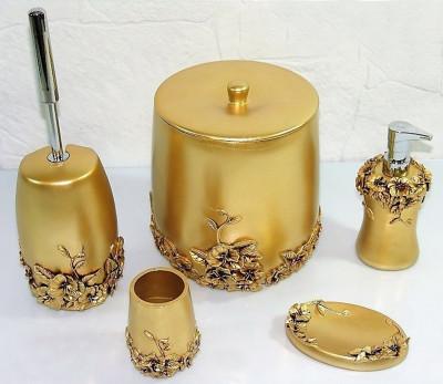 Diğer - Gelincik Lüks Banyo Seti 5 Parça Gold