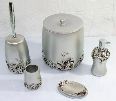 Diğer - Gelincik Lüks Banyo Seti 5 Parça Gümüş
