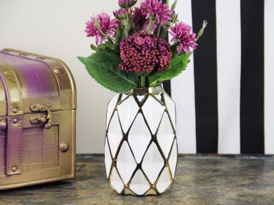 Diğer - Geometrik Desenli Porselen Vazo 19cm Gold
