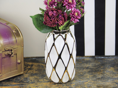 Diğer - Geometrik Desenli Porselen Vazo 24cm Gold