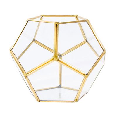 Diğer - Geometrik Gold Detaylı Cam Vitray ve Teraryum Vazo 16x13cm