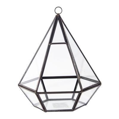 Diğer - Geometrik Gözyaşı Cam Vitray ve Teraryum Vazo 16x18cm