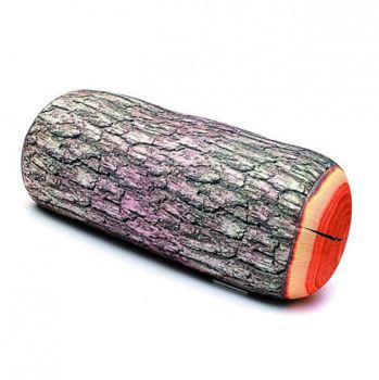 Gerçekçi Kütük Tasarımlı Puf Yastık 40cm