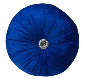 Gökyüzü Dekoratif Taşlı Yuvarlak Kırlent Yastık Parlement Mavisi