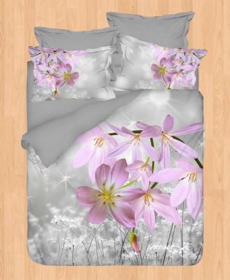 Gökyüzü - Gökyüzü Elegant 3D Saten Nevresim Takımı Çift Kişilik Çiçek Baskılı Lila