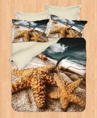 Gökyüzü - Gökyüzü Elegant 3D Saten Nevresim Takımı Çift Kişilik Deniz Yıldızı