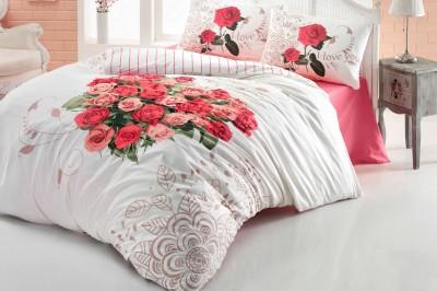 Diğer - Gökyüzü Elegant Love Rose Çift Kişilik Pamuklu Nevresim Takımı Kırmızı
