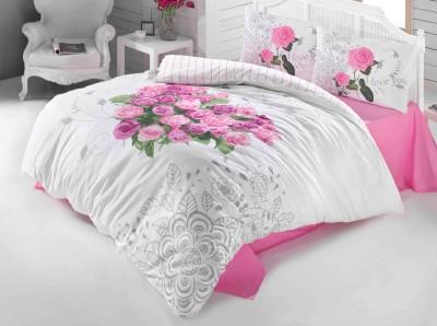 Diğer - Gökyüzü Elegant Love Rose Çift Kişilik Pamuklu Nevresim Takımı Pembe