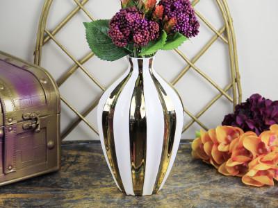 Diğer - Gold Çizgili Dar Ağızlı Dekoratif Vazo 29cm