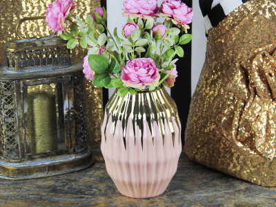 Diğer - Gold Detaylı Dar Ağızlı Porselen Vazo 23cm Pembe