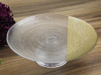 Diğer - Gold Detaylı Helezon Ayaklı Kek ve Pasta Tabağı 33cm