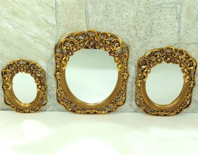 Diğer - Gonca 3lü Dekoratif Duvar Aynası Takımı Gold