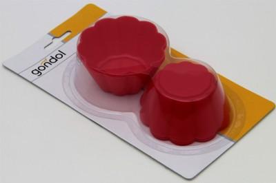Gondol - Gondol Mini Çiçek 6lı Silikon Kek Kalıbı 7cm.Kırmızı