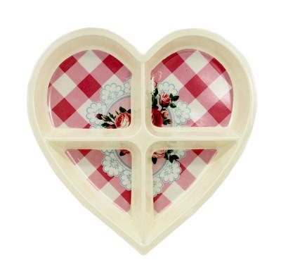 Diğer - Gül Baskılı Kalp Şeklinde 4 Bölmeli Melamin Kahvaltılık ve Çerezlik Krem