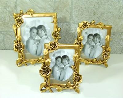 Diğer - Gül Dallı Dekoratif Fotoğraf Çerçevesi Gold 15x21cm