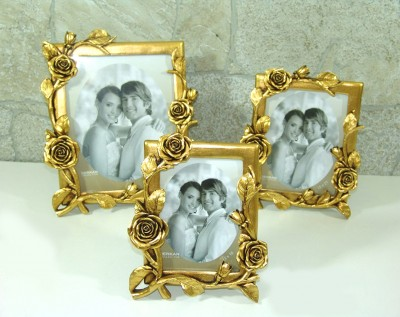 Diğer - Gül Dallı Dekoratif Fotoğraf Çerçevesi Gold 20x25cm