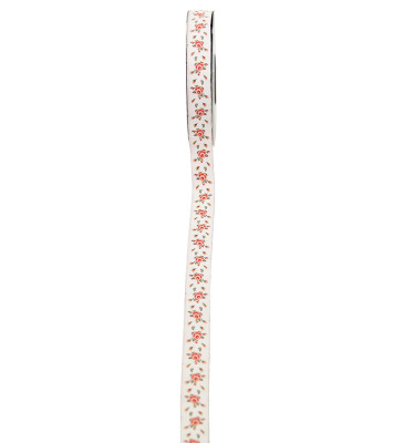 Diğer - Gül Desenli Dokumalı Jakarlı Şerit Kurdele 1,5cmx10mt