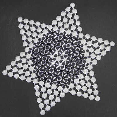Diğer - Gül Desenli Yıldız Motifli Kasnak İşi Siyah Beyaz Örtü 6 Parça