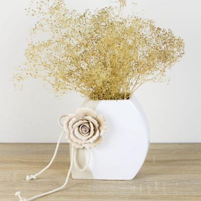 Diğer - Gül Kabartmalı Porselen Oval Vazo 15cm